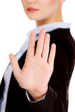 Young business woman shows stop gesture Stock Photo
