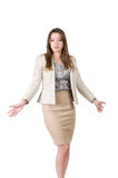 Young business woman shrugs uncertainly. Young business woman does not know the answer Royalty Free Stock Photography