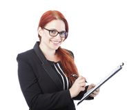 Young business woman sign documents in her hand Royalty Free Stock Images