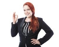 Young business woman sign perfect or okay Stock Photos