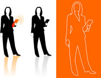 Young business woman silhouettes Royalty Free Stock Image
