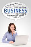 Young business woman is sitting in front of a laptop under speec. H bubble, business concept Stock Photo