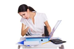 Young business woman sitting stressed in office Royalty Free Stock Photography