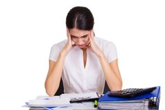 Young business woman sitting stressed in office Royalty Free Stock Photo