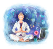 Young business woman sitting on the working table in yoga position, meditating. vector illustration