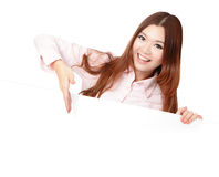Young Business Woman Smile Showing blank billboard Royalty Free Stock Photos