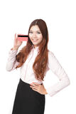 Young Business woman smile and take credit card Stock Photos
