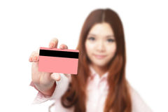 Young Business woman smile and take credit card Stock Photo