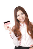Young Business woman smile and take credit card Stock Image