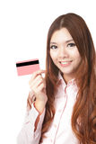 Young Business woman smile and take credit card Royalty Free Stock Photo