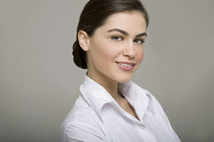 Young business woman smiling Stock Photo