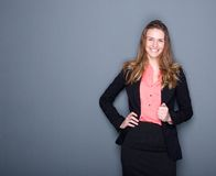 Free Young Business Woman Smiling Royalty Free Stock Images - 39285459
