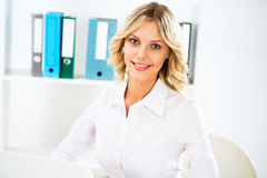 Young business woman smiling Stock Photos