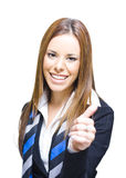 Young Business Woman Smiling With Thumbs Up. In A Corporate Communication Of Acceptance Approval Congratulations And Great Customer Service, White Background Royalty Free Stock Image