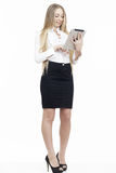 Young business woman smiling using touch pad tablet pc Stock Photos
