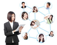 Young business woman in social network Royalty Free Stock Photo