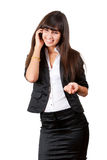 Young business woman speaking by mobile phone. Isolated over white Stock Photo