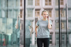 Young business woman speaking on the phone Stock Photography