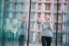 Young business woman speaking on the phone Stock Image