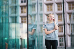 Young business woman speaking on the phone Stock Photo