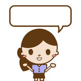 Young business woman with speech bubble. For work Royalty Free Stock Images