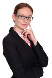 Young business woman. Standing against white background royalty free stock photo