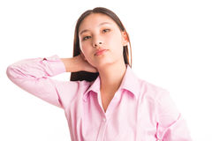 Young business woman standing isolated on white Royalty Free Stock Photography