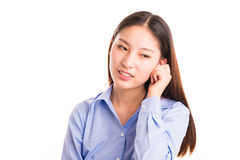 Young business woman standing isolated on white Royalty Free Stock Photo