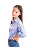 Young business woman standing isolated on white Stock Photo