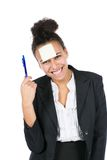 Young business woman with sticky note Royalty Free Stock Image
