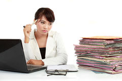 Young business woman stressed royalty free stock photos