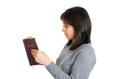 Young business woman studying a bible Royalty Free Stock Photo