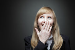 Young business woman surprised Royalty Free Stock Image