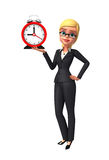 Young Business Woman with table clock Royalty Free Stock Image