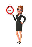 Young Business Woman with table clock Royalty Free Stock Photo