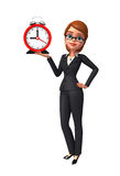 Young Business Woman with table clock Royalty Free Stock Photos