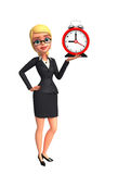Young Business Woman with table clock Royalty Free Stock Images