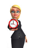 Young Business Woman with table clock Stock Images