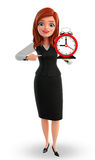 Young Business Woman with table clock Stock Photo