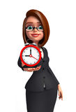Young Business Woman with table clock Stock Photography