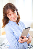 young business woman with a tablet Stock Photo