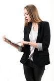 Young business woman with tablet computer Royalty Free Stock Images