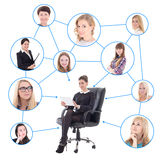 Young business woman with tablet pc and her social network  Stock Photos