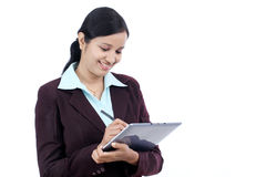 Young business woman with tablet and stylus Royalty Free Stock Photo
