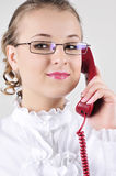 Young business woman talking on the phone. Royalty Free Stock Photos