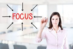 Young business woman target on focus. Office background. Stock Photo