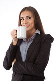 Young business woman with a tea cup Royalty Free Stock Photo