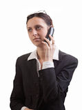 Business woman with a phone Royalty Free Stock Photo