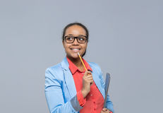 Young Business Woman Think Looking To Empty Copy Space African American Girl Happy Smile Businesswoman Stock Photo