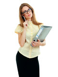 Young business woman thinking Stock Image